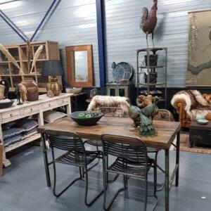 oud houten industriële salon/eettafel - pilota stoer wonen